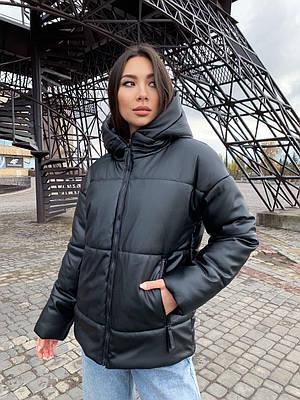 Модная женская черная зимняя куртка из экокожи