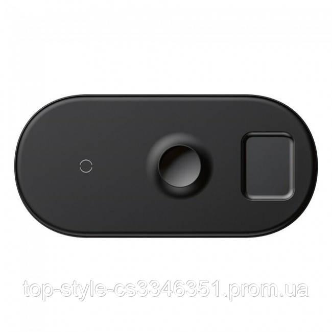 Беспроводная зарядка Baseus Smart 3in1 для Apple Watch, iPhone, Airpods (18W MAX) Black