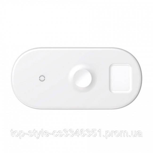 Беспроводная зарядка Baseus Smart 3in1 для Apple Watch, iPhone, Airpods (18W MAX) White