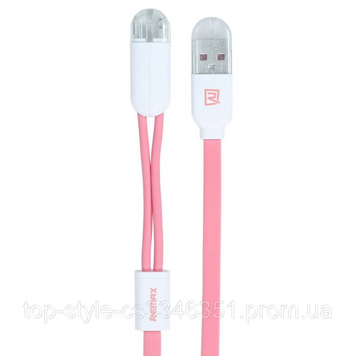 Кабель 2-in-1 Remax RC-025T Twins Cable Lightning-microUSB-USB 1m Pink