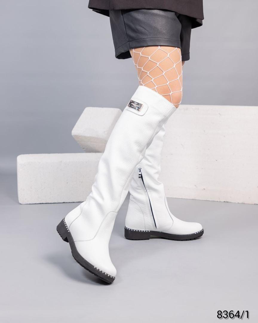 Сапоги Европейка кожаные белые