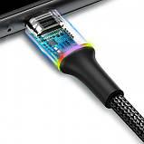 Кабель MicroUSB с оплеткой Baseus halo data cable (3A) 0.25m Black, фото 4