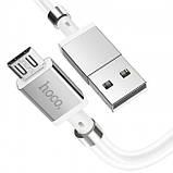 Кабель Hoco U91 Magic magnetic charging for MicroUSB 2.4A 1m White, фото 2