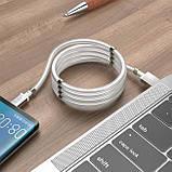 Кабель Hoco U91 Magic magnetic charging for MicroUSB 2.4A 1m White, фото 3