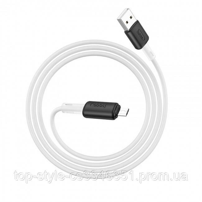 Мягкий силиконовый кабель MicroUSB Hoco X48 Soft silicone charging 2.4A 1m White