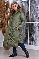 Женская длинная куртка-пальто батал, теплая куртка с капюшоном, стеганная зимняя курточка большие размеры