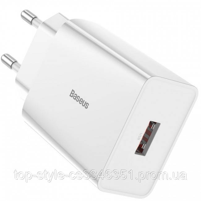 Сетевое зарядное устройство Baseus Speed Mini QC single U Quick Charger (QC3.0, 18W, 1USB) White