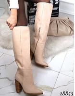 Бежеві жіночі чоботи до коліна з нубуку 36-38