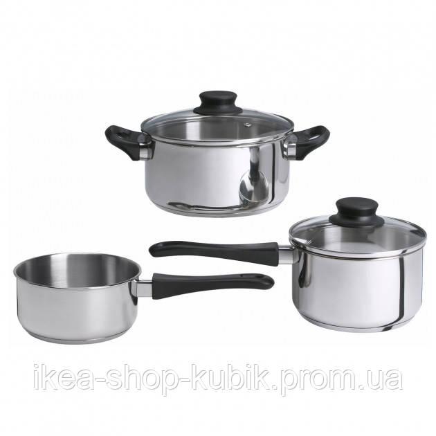 Набір посуду 5 предметів, скло, нержавіюча стальІКЕА ANNONS АННОНС