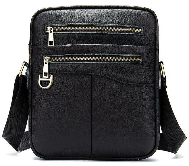 Компактная мужская сумка кожаная Vintage 14824 Черная