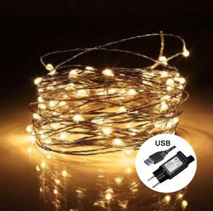 Электрическая гирлянда РОСА 500 LED, 220В + USB, 50 м, теплый белый