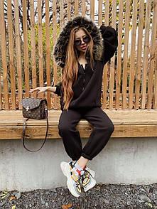 Женский теплый черный костюм с мехом