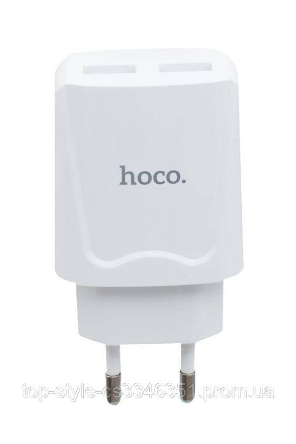 Сетевое зарядное устройство Hoco C52A (2USB, 2.1A) White