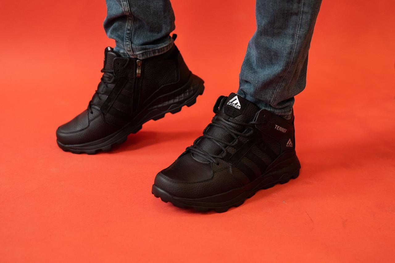 Мужские кроссовки кожаные зимние черные EXtrem 1143/59-01