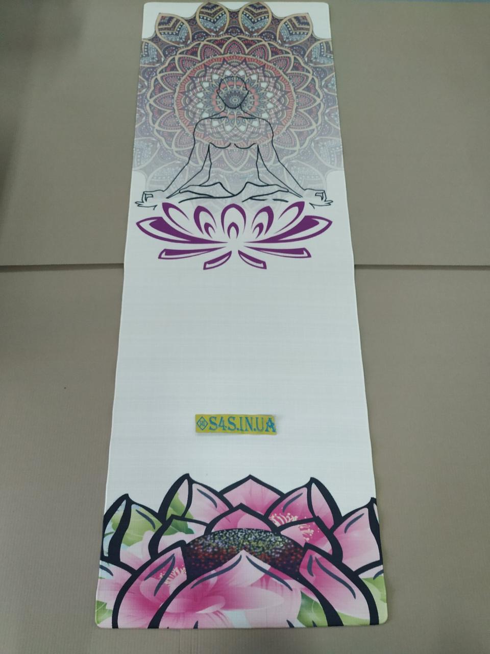 Коврик для йоги Джутовый (Yoga mat) двухслойный 3мм Record FI-7156-3, бежевый, с принтом Спокойствие Лотоса