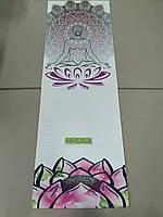Коврик для йоги Джутовый (Yoga mat) двухслойный 3мм Record FI-7156-3, бежевый, с принтом Спокойствие Лотоса, фото 1