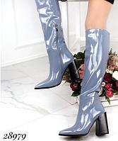 Демісезонні чоботи до коліна блакитного кольору на квадратному каблуці 35, 36 розмір