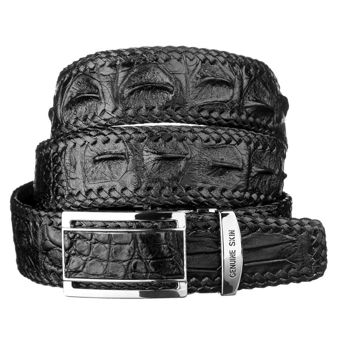 Ремень-автомат CROCODILE LEATHER 18010 из натуральной кожи крокодила Черный