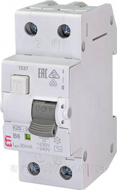 Диффер. автоматический выкл. KZS-2M C 6/0,03 тип AC (10kA), ETI, 2173121