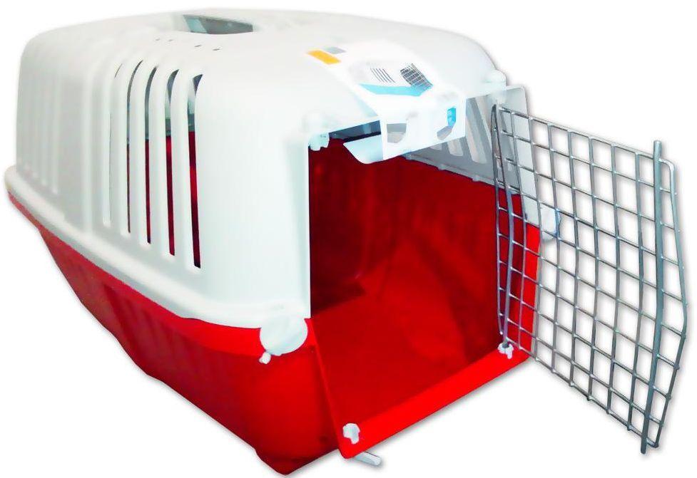 Переноска ПРАТИКО 1 PRATIKO 1 для кошек и собак весом до 12 кг, металлические двери, 48 * 31 * 33 см, красная