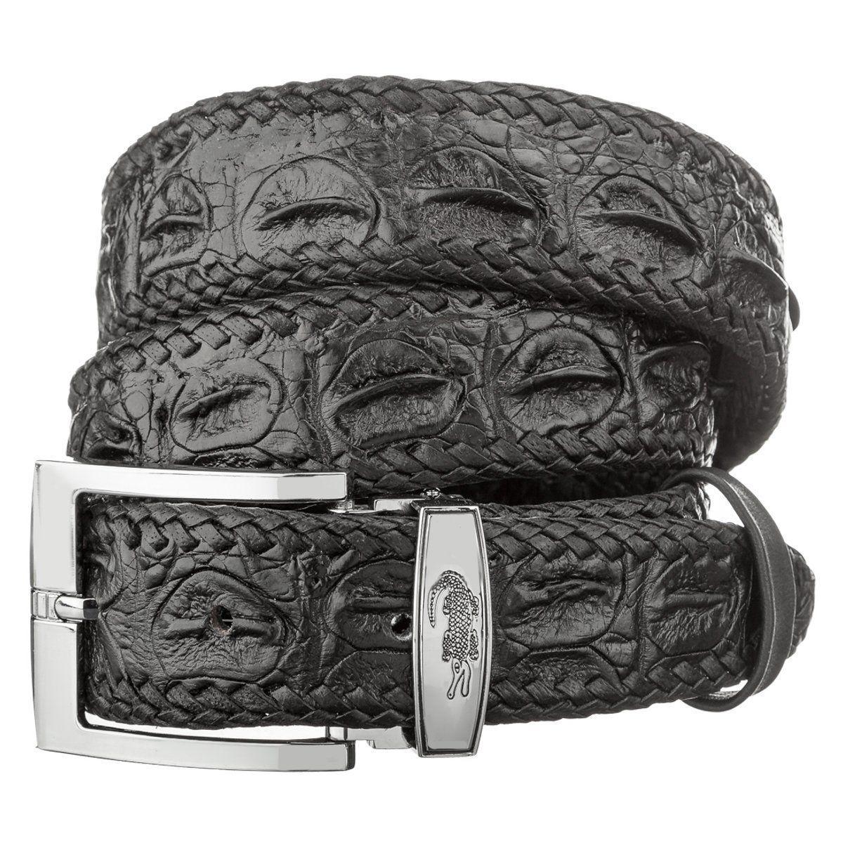 Ремень CROCODILE LEATHER 18601 из натуральной кожи крокодила Черный