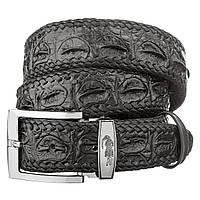 Ремень CROCODILE LEATHER 18601 из натуральной кожи крокодила Черный, фото 1