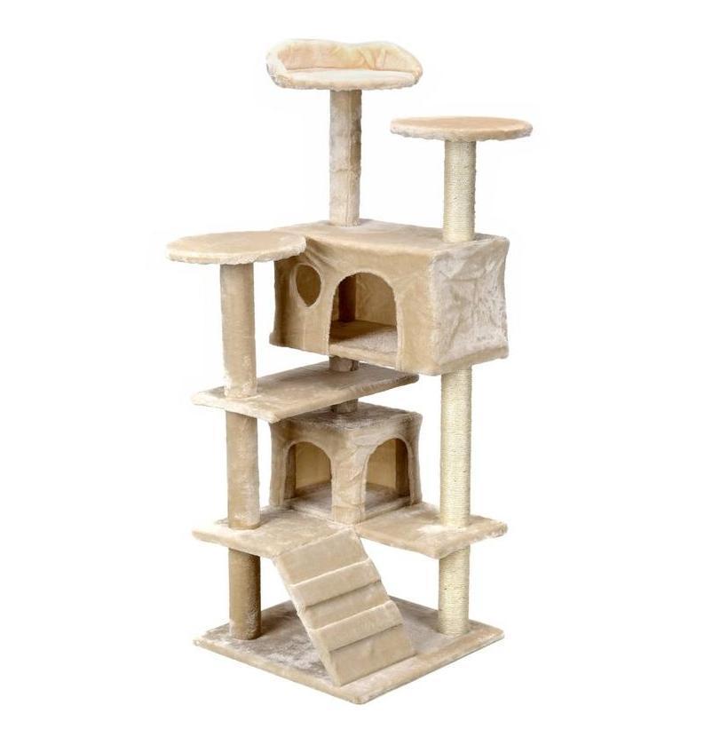 Большая когтеточка для кота домик комплекс дряпка для кошек FunFit Sissy бежевая 41609