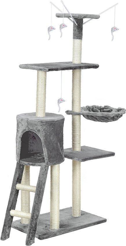Когтеточка для кошек домик игровой комплекс дряпка лежанка для кота FunFit Amy Серая 41808