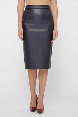 Темно-синяя юбка-карандаш из эко-кожи на флисе