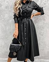 Женское кожаное расклешенное платье миди на пуговках, фото 1