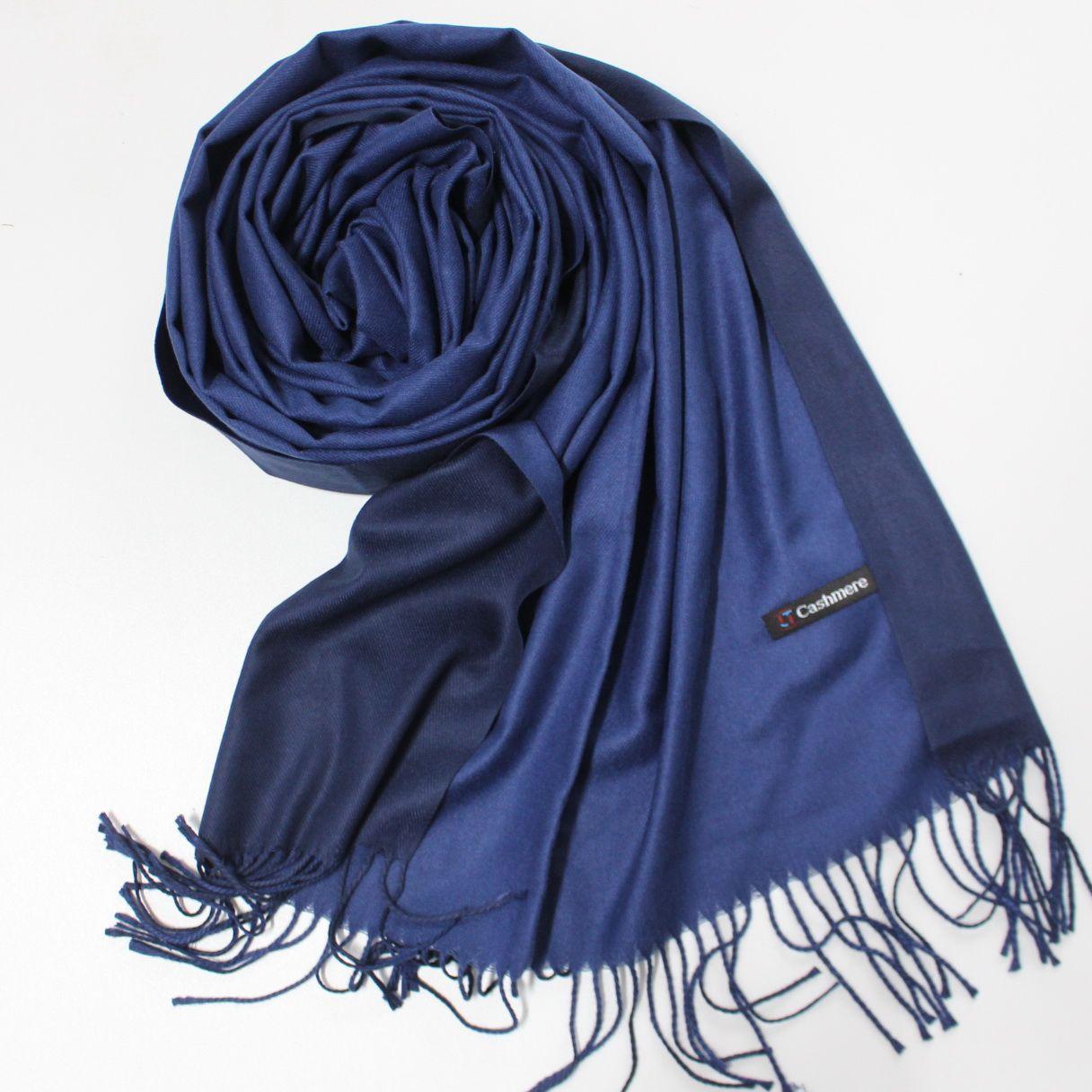 Теплый шарф одтонный двухсторонний кашемировый 132009