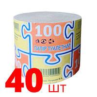 """Туалетная бумага """"100"""", - 40шт, без гильзы, серая"""