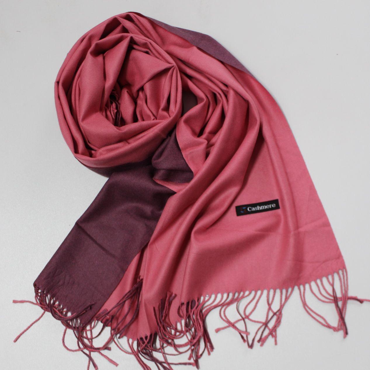 Теплый шарф одтонный двухсторонний кашемировый 132011
