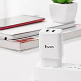 Зарядний адаптер для телефону з двома портами USB 2.1A C62A Hoco, фото 2
