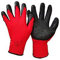Перчатки рабочие нейлон вспененные №Х-3 красно-черные