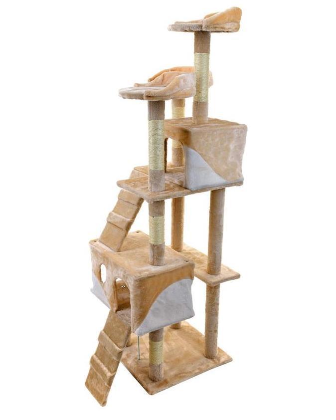 Когтеточка для кошек домик игровой комплекс дряпка лежанка гамак для кота FunFit Chiara Бежевая 41953