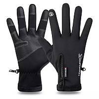 Перчатки зимние для сенсорных экранов влагозащитные черные, фото 1