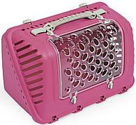 Переноска пластиковая ФЕШИОН P-BAG FASHION для кошек и собак весом до 10 кг, 44,5 * 26,5 * 28 см, розовая
