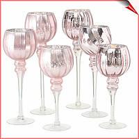 Подсвечник стеклянный на ножке набор из 3 шт розовый 30-40 см