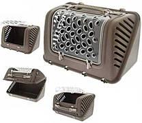 Переноска пластиковая ФЕШИОН P-BAG FASHION для кошек и собак весом до 10 кг, 44,5 * 26,5 * 28 см, коричневая
