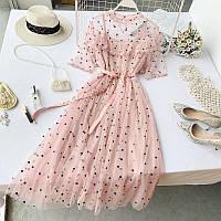 Шикарное женское платье с сеткой и поясом