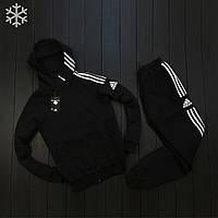 Зимний мужской спортивный костюм адидас три полоски/Adidas