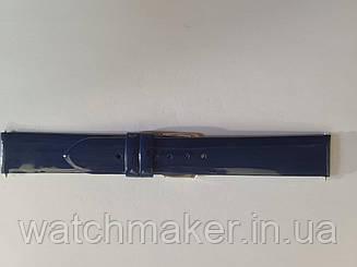 Синий лаковый  женский ремешок   для наручных часов  20 мм