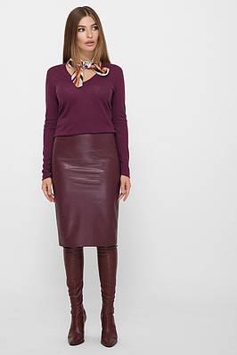 Бордовая юбка-карандаш из эко-кожи на флисе