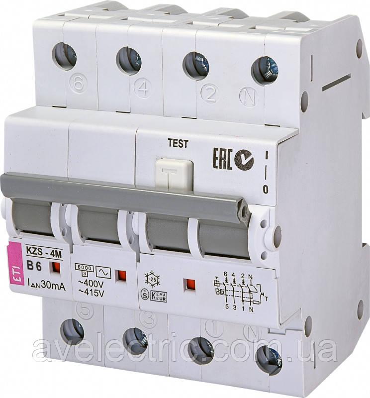 Диффер. автоматичний викл. KZS-4M 3p+N B 6/0,03 тип AC (6kA), ETI, 2174001