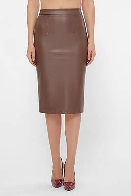 Женская юбка миди из эко-кожи на флисе