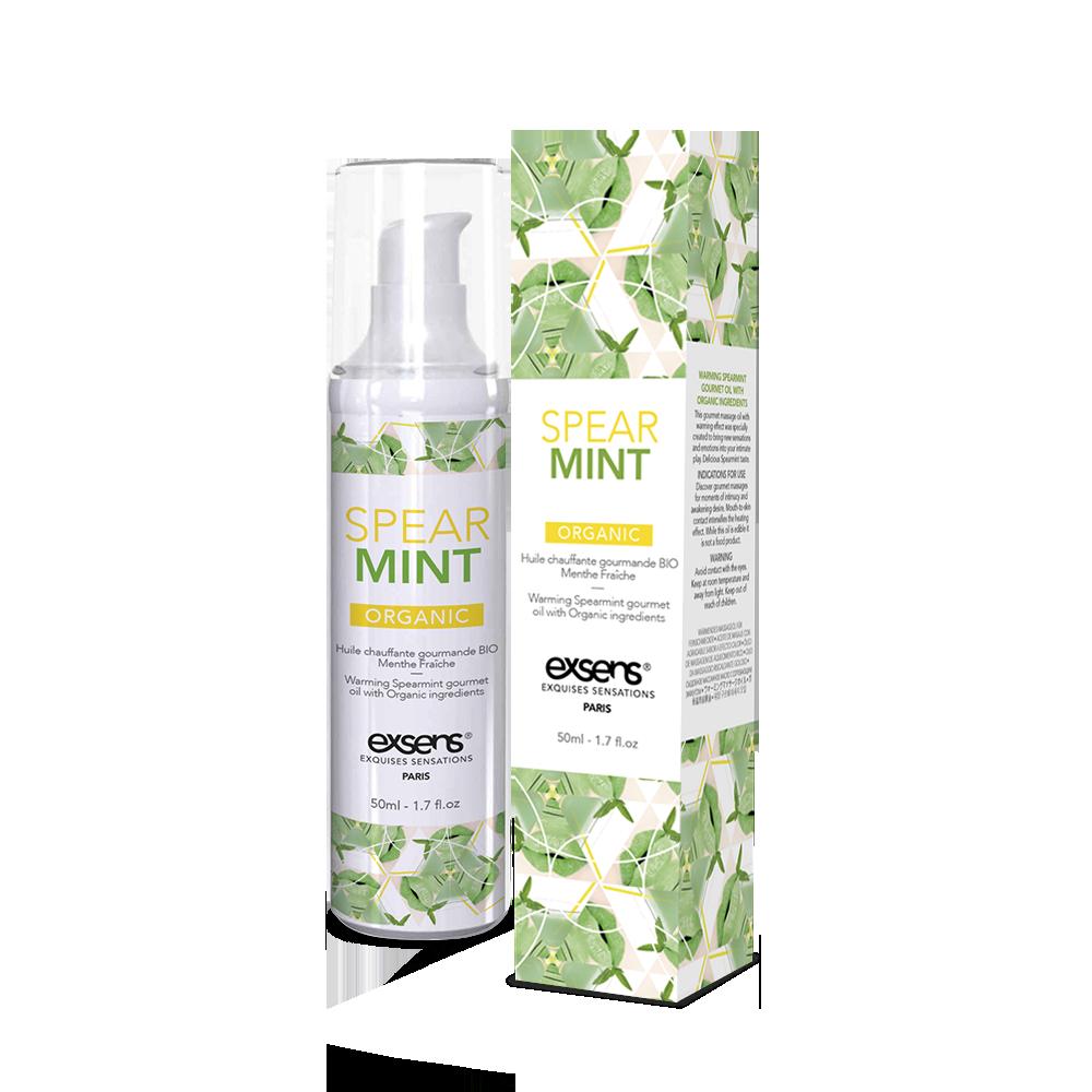 Массажное масло EXSENS Organic Spear Mint 50мл разогревающее, без сахара, без парабенов, съедобное