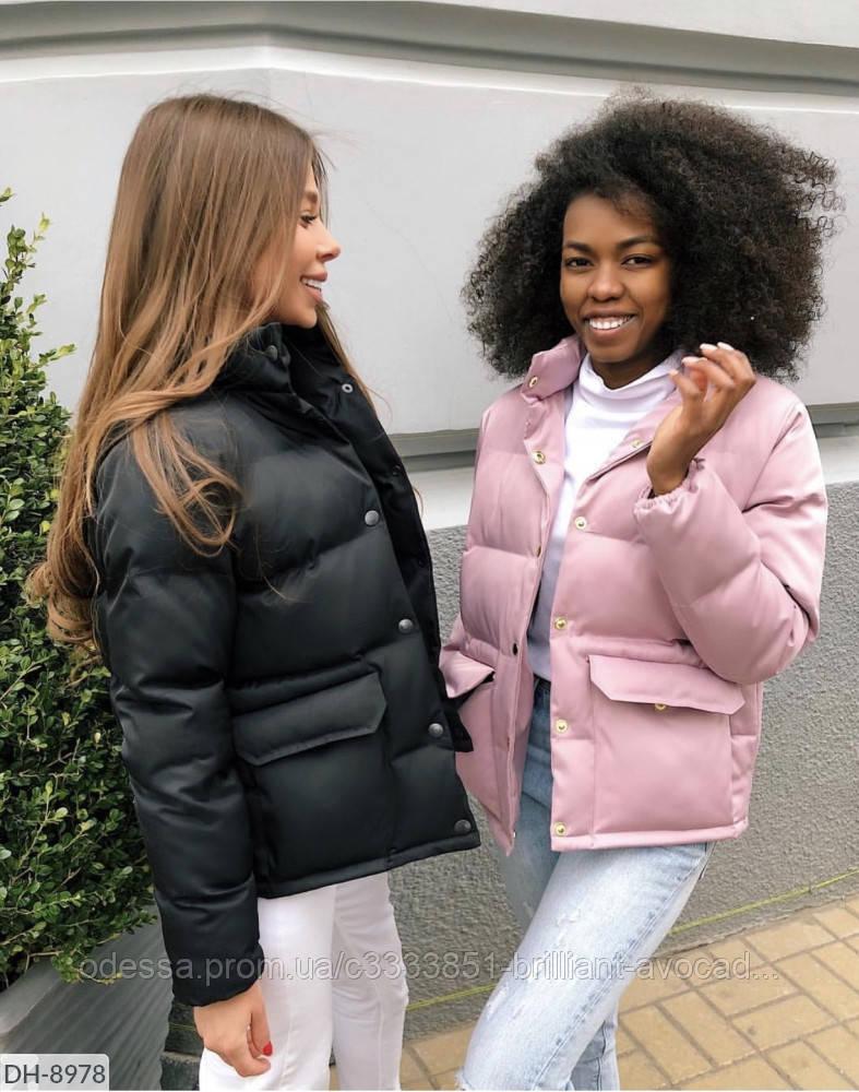 Женская модная короткая куртка пуховик с карманами