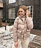 Жіноча модна коротка куртка пуховик з кишенями, фото 9