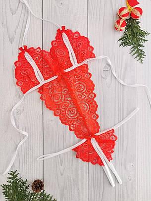 Эротичный боди из кружева с откровенными вырезами Красный с белым. Размеры от ХS до XXL, фото 2